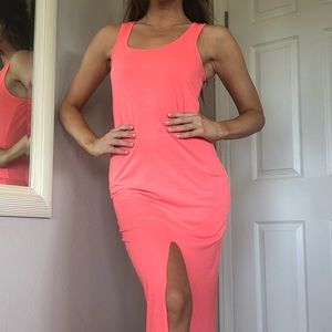 Bright coral maxi dress with leg slit